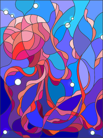 blue glass: Illustration in stained glass style with abstract jellyfish against a blue sea and bubbles Illustration