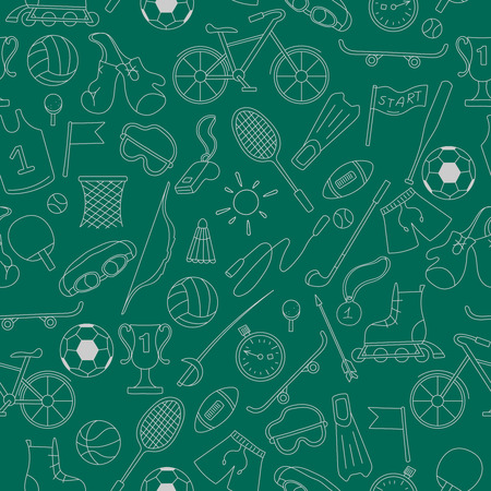 biking glove: Seamless pattern on the theme of summer sports, simple icons light outline on a green background Illustration
