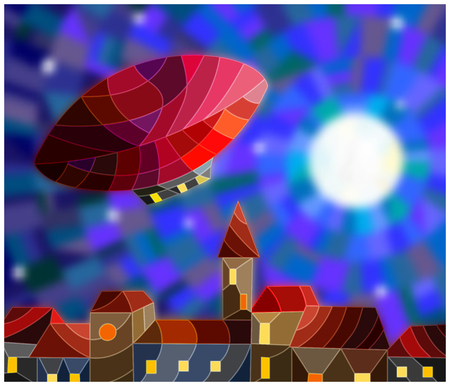Illustration in stained glass style airship over a city at night amid the stars and moon, night cityscape