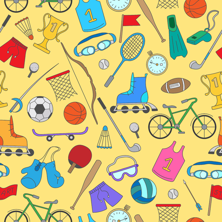 biking glove: Seamless pattern on the theme of summer sports, simple colorful icons on a yellow background
