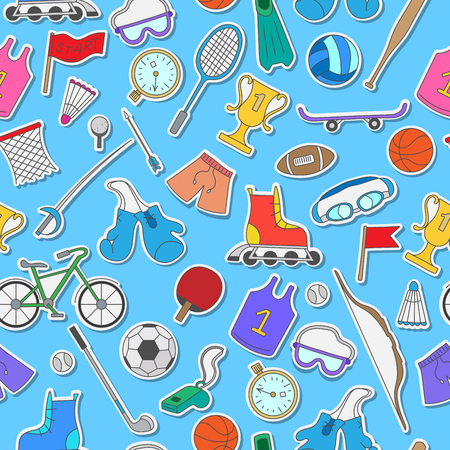 biking glove: Seamless pattern on the theme of summer sports, simple colorful icons on a blue background Illustration