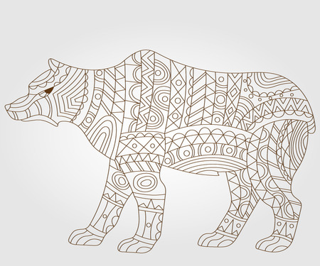 abstract animal: Contour illustration of abstract bear, on a white background
