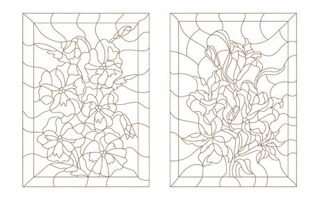 Impostare illustrazioni di contorno in stile vetrate, gigli e viole del pensiero, contorno scuro su uno sfondo bianco