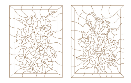 pansies: Set contour illustrations in the stained glass style, lilies and pansies, dark outline on a white background
