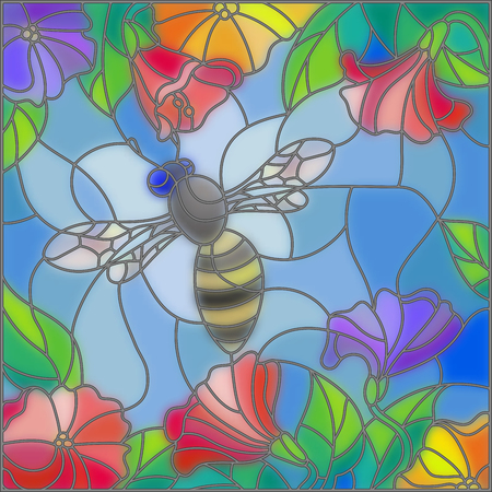 blue glass: Illustration in stained glass style with bright bee against the sky, foliage and flowers