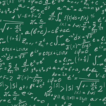 Seamless background on the topic of mathematical theorems, symbols, and formulas, light contour on a green background
