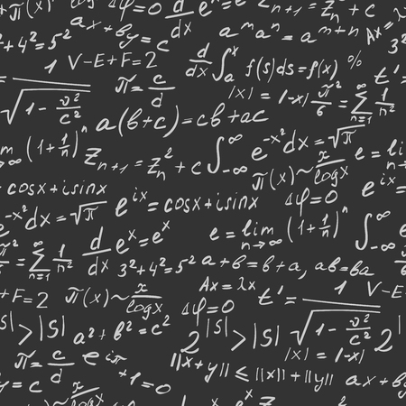Seamless background on the topic of mathematical theorems, symbols, and formulas, light contour on a dark background