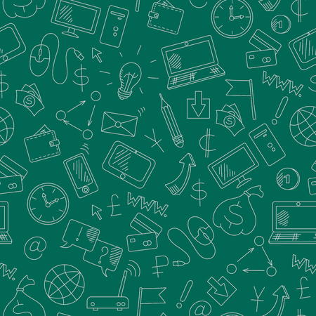 earn money: Seamless background on the topic of information technology and earn money online, simple hand-drawn contour icons, light outline on a green background