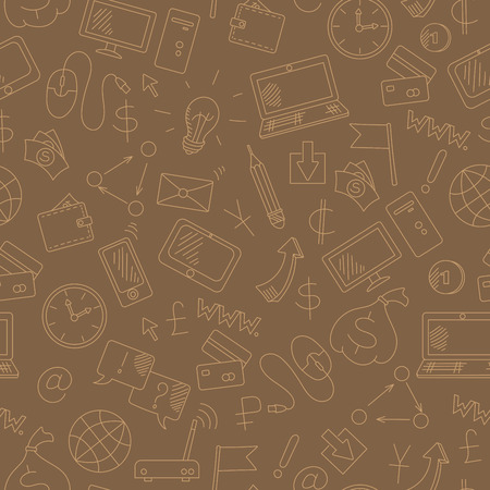 earn money: Seamless background on the topic of information technology and earn money online, simple hand-drawn contour icons, light outline on a brown background