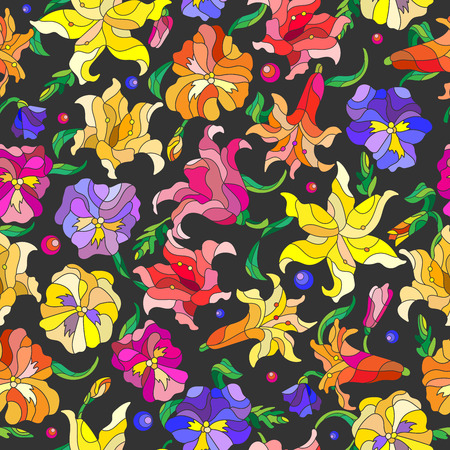 pansies: Seamless background with spring flowers in stained glass style, flowers, buds and leaves of pansies and lilies on a dark background