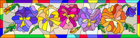 green glasses: Illustration in stained glass style with flowers, buds and leaves of pansy