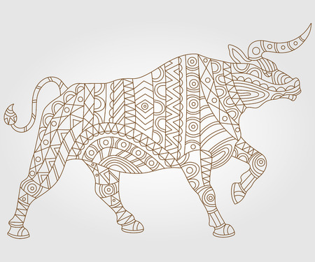 fragmentation: Contour illustration with abstract bull, dark outline on a light background