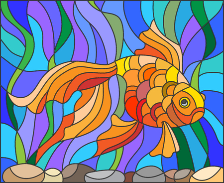 water stained: Illustration in stained glass style with gold fish on the background of water and algae