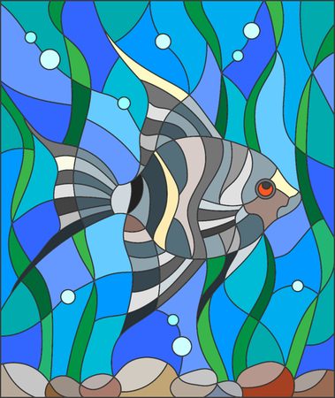 Illustration in stained glass style fish scalar on the background of water and algae Illustration