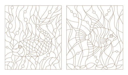 Set contour illustrations of stained glass with aquarium fish, the goldfish and scalars Vectores