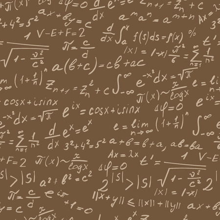 Seamless background on the topic of mathematical theorems, symbols, and formulas, light contour on a brown background