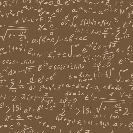 teorema: Sin fisuras de fondo sobre el tema de los teoremas matemáticos, símbolos y fórmulas, el contorno de luz sobre un fondo marrón