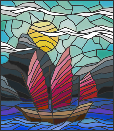 glass windows: The Eastern ship with red sails on the background of sky, sun and rocky shores