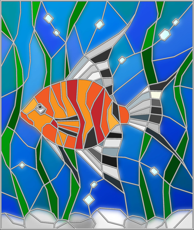 scalare: Illustration in stained glass style fish scalar on the background of water and algae Illustration