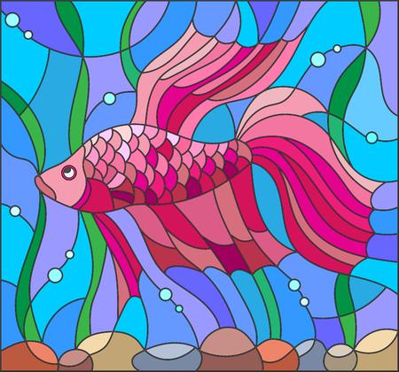 scalare: Illustration in stained glass style with red fighting fish on the background of water and algae