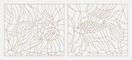 Set contour illustrations of stained glass with aquarium fish