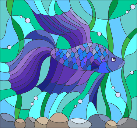 Illustration in stained glass style with blue fighting fish on the background of water and algae