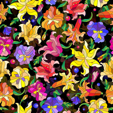 Seamless background with spring flowers in stained glass style, flowers, buds and leaves of pansies and lilies on a dark background