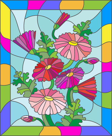 marguerite: Illustration in stained glass style with flowers, buds and leaves of Marguerite