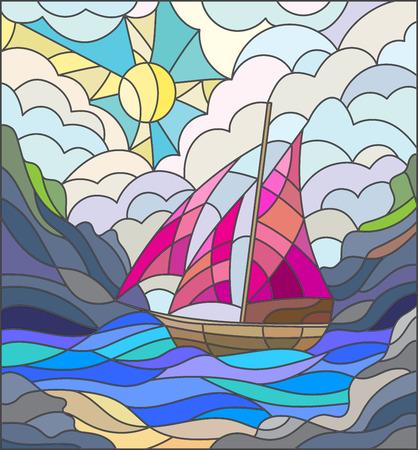 Illustration dans le style vitrail avec des voiliers contre le ciel, la mer et le lever du soleil Banque d'images - 58467244