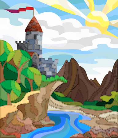 Illustration in stained glass style landscape with old castle on the background of sky, sun, river and mountains