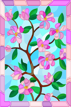 mosaics: Illustration in stained glass style with abstract cherry blossoms on a blue background