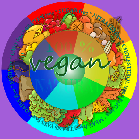 Round frame of the food, the concept of vegetarianism and healthy eating Illusztráció