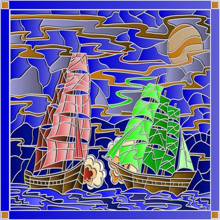 Seascape dans la bataille de style vitrail avec deux voiliers dans le ciel et le coucher du soleil