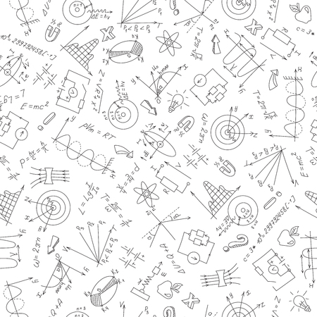 Seamless pattern with formulas,graphs, and equipment as the subject of physics,dark marker on white background