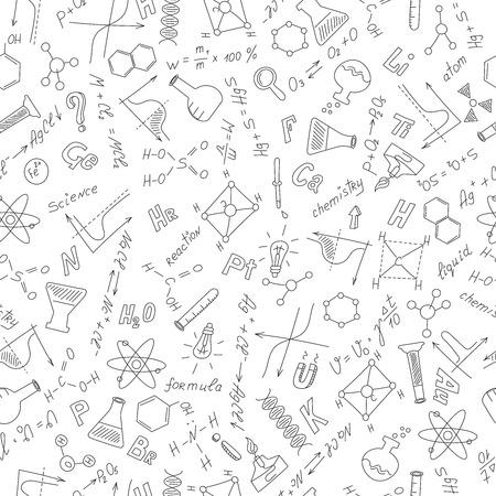 endlos: Nahtlose Muster mit Formeln, Diagramme und Ausrüstung als Gegenstand der Chemie, dunkle Umriss auf einem weißen Hintergrund Illustration