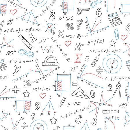 Seamless background with formulas and charts on the topic of mathematics and education, colored marker on white background Vettoriali