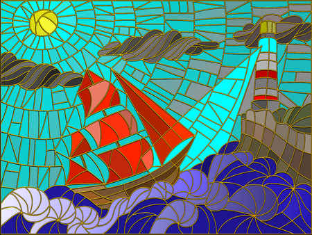 glass art: Abstract landscape with a sailboat against the sky, waves and glowing beacon. Color version
