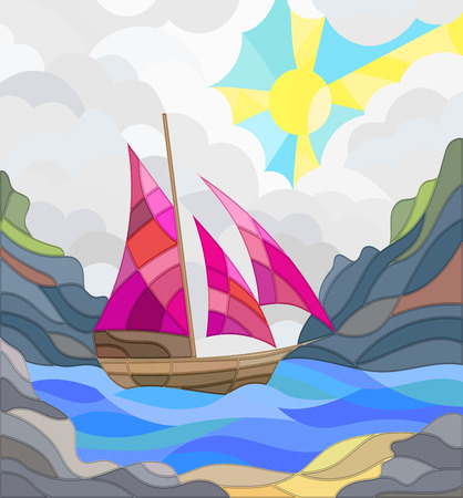 wood window: Illustration in stained glass style with sailboats against the sky, the sea and the sunrise