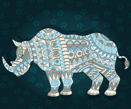 fragmentation: Illustration with abstract rhino on a dark floral background Illustration