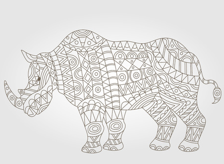 hump: Illustration of abstract contour of a rhino on white background