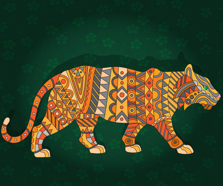 fragmentation: Illustration with abstract tiger on a dark floral background