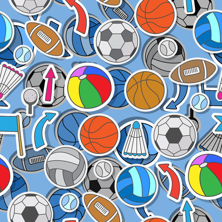 backing: Seamless pattern on the theme of summer sports, different sports balls ,arrows, and flags Illustration