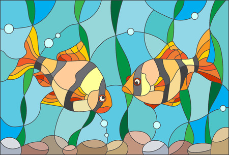 barbs: Illustration in stained glass style with a pair of barbs on the background of water and algae