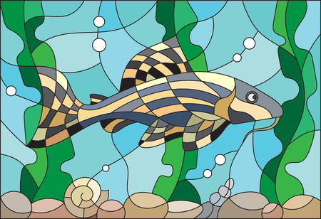 water stained: Illustration in stained glass style with a catfish on the background of water and algae