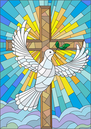blue church: Illustration with a cross and a dove in the stained glass style