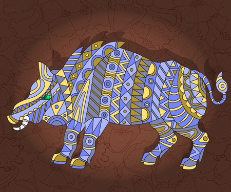 fragmentation: Illustration with abstract wild pig on a dark floral background Illustration