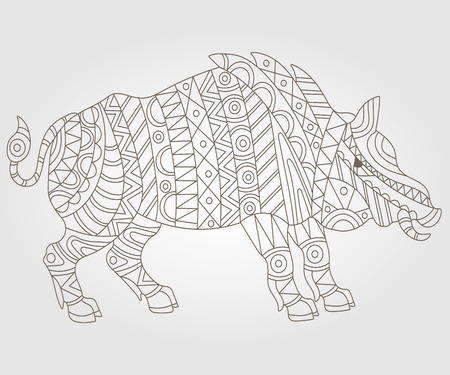 hump: Illustration of abstract contour of a wild pig on white background