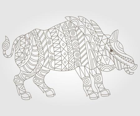 jabali: Ilustración de contorno abstracta de un cerdo salvaje en el fondo blanco