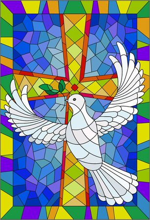 Illustration with a cross and a dove in the stained glass style