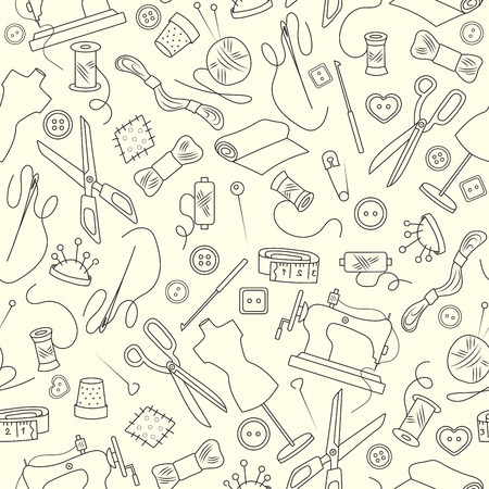 patch of light: Seamless pattern on the theme of needlework and sewing , simple outline icons on a light background